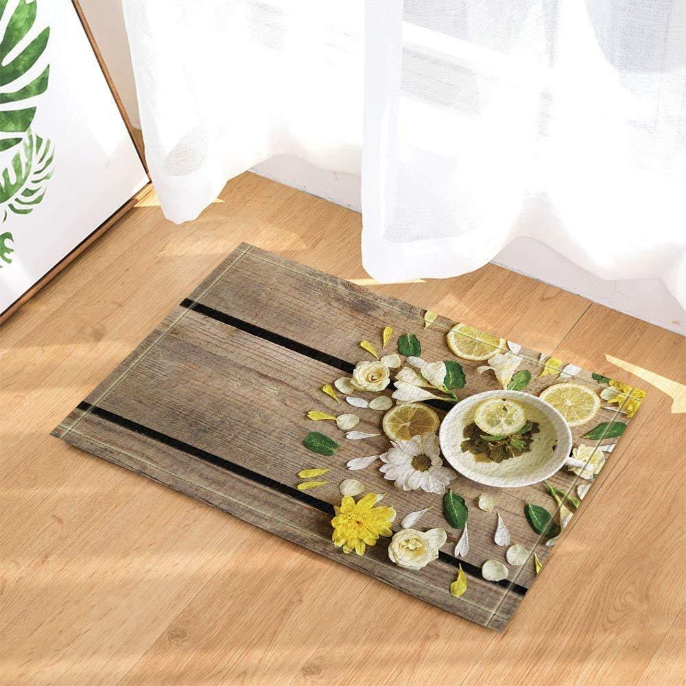 Spa Decor Lemon Tea Slimming Yoga Wood Board Background Bath Rugs Non-Slip Doormat Floor Entryways Indoor Front Door Mat Kids Mat 15.7x23.6in Bathroom Accessories