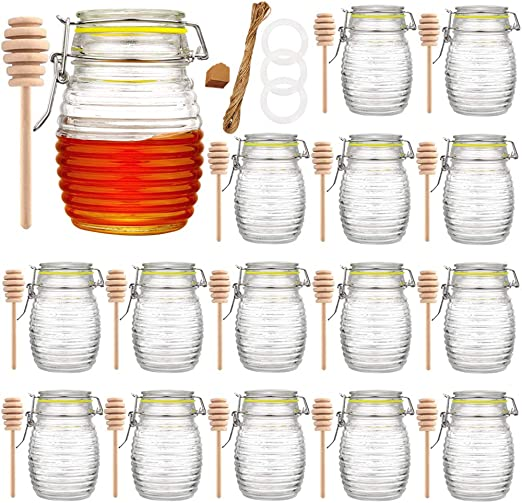 Qianfenie 9 oz Glass Jars with Airtight Lids, Glass Honey Jar for Kitchen Canisters, 16 Pack