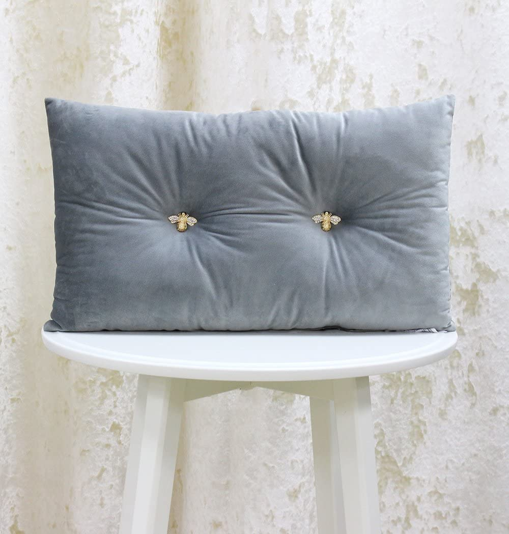 30 x 50cm Faux Velvet Look and Feel 100/% Polyester Jewelled Metal Bee Buttons 12 x 20 inches Black Polyfilled - Made by Riva Paoletti Bumble Rectangular Bee Scatter Cushion