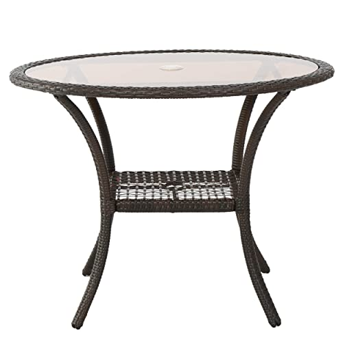 Christopher Knight Home Ibiza Multi-brown Wicker Glass Table