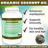 Pure Extra Virgin Organic Coconut Oil - 1000mg - High Absorption - For Healthy Skin and Hair - Source of MCTs (1)