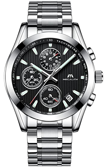 Relojes Hombre Acero Inoxidable Relojes de pulsera de Lujo Moda Cronometro Impermeable Fecha Calendario Analogicos Cuarzo