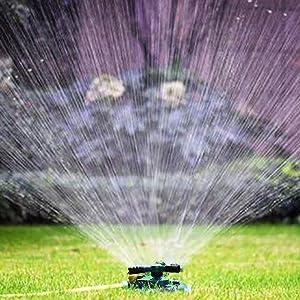 GOCTOS Sprinkler Automatic 360 Rotating Lawn Watering Sprinkler Large Area Irrigation System Oscillating Sprinkler for Garden Lawn Yard Kids