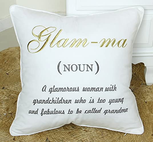 DecorHouzz Glam Ma Embroidered Pillow Decorative Grandmother Gift Throw Birthday Grandma
