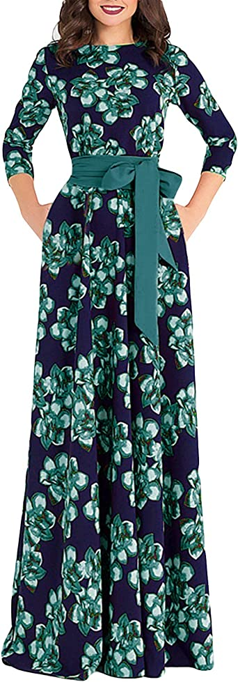 Womens Dress 3//4 Sleeve Casual Floral Long Dress Belt