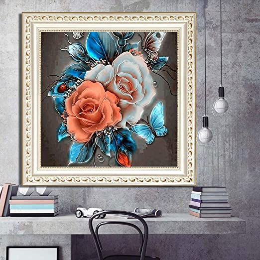 F039 Full Square Drill 5D DIY Diamond Painting Rose Embroidery Cross Stitch Mosaic Rhinestone Decor (30x30cm//12x12inch)