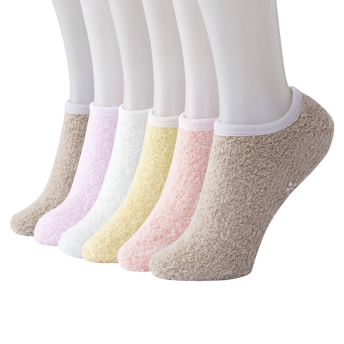 Beauttable 6 Pack Women Solid Colorful Indoors Soft Anti-Slip Winter Fluffy Fuzzy Slipper Socks