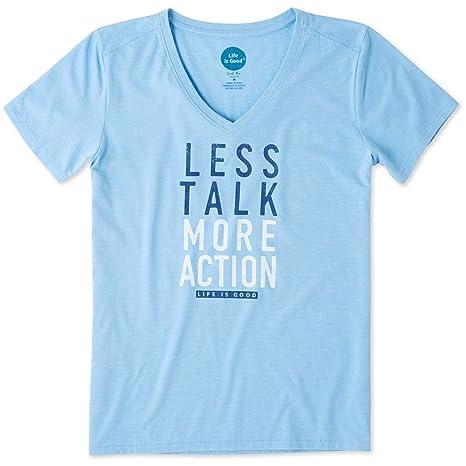 10baa5d4f2b5 Amazon.com: Life is Good Women's Less Talk More Action Cool Vee ...