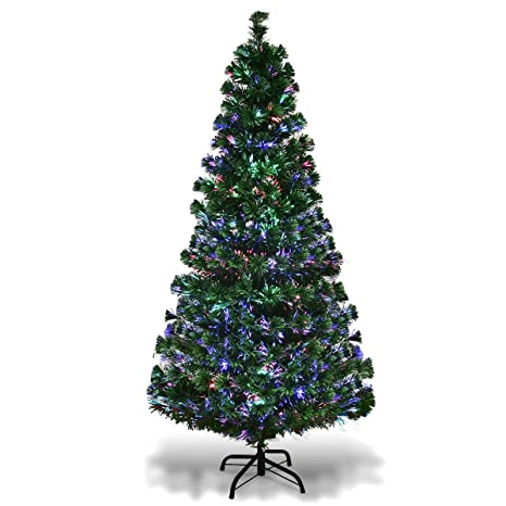 uk availability f590d bd052 Goplus 5ft Artificial Christmas Tree Pre-Lit Fiber Optic Tree with Metal  Stand