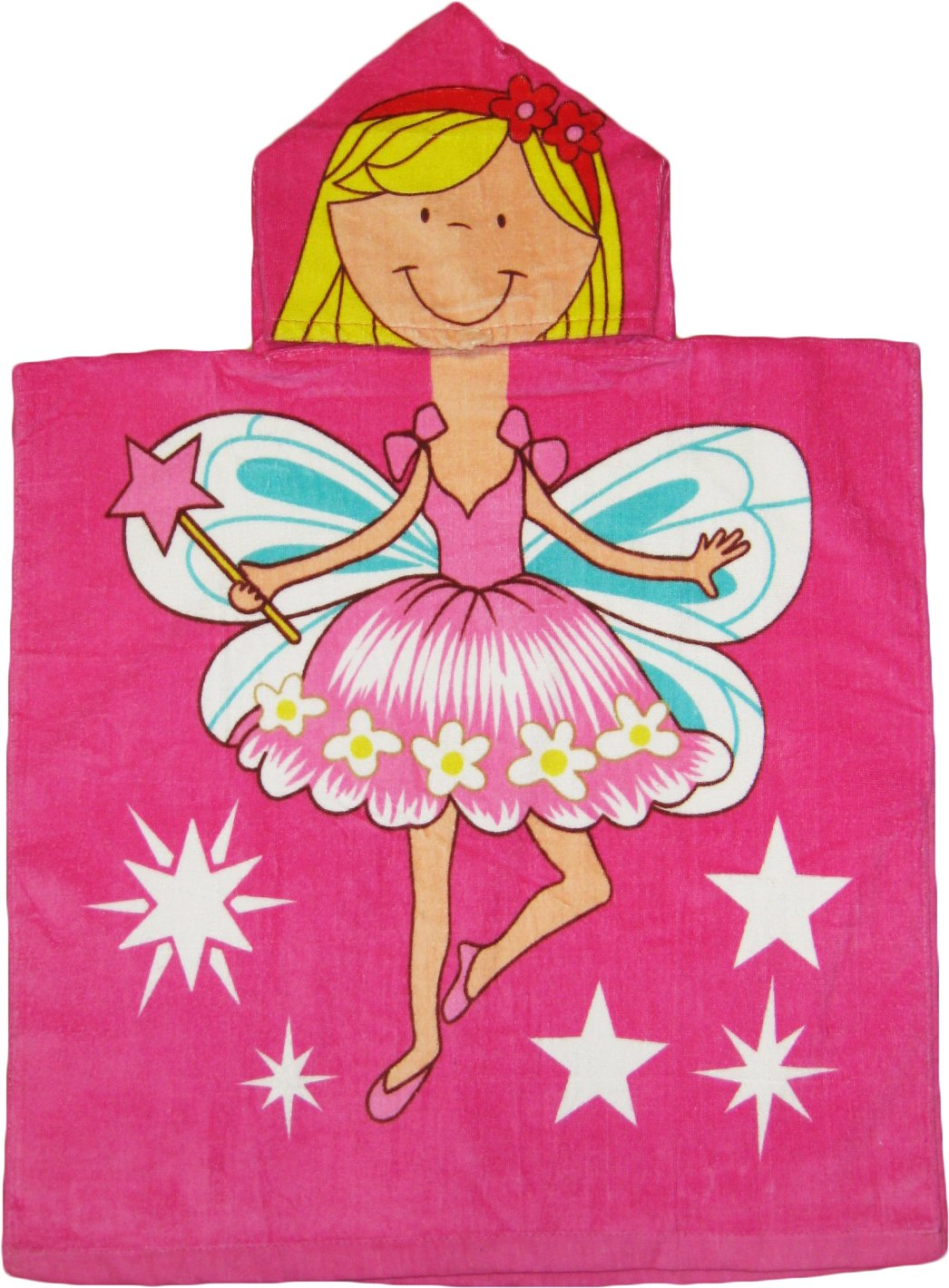 Kreative Kids Fairy 100% Cotton Poncho Style Hooded Bath & Beach Towel with Colorful Double Sized Design