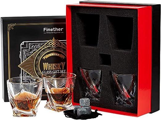 Finether Vasos de Whisky con Cubos de Hielo Reutilizables, Juego ...