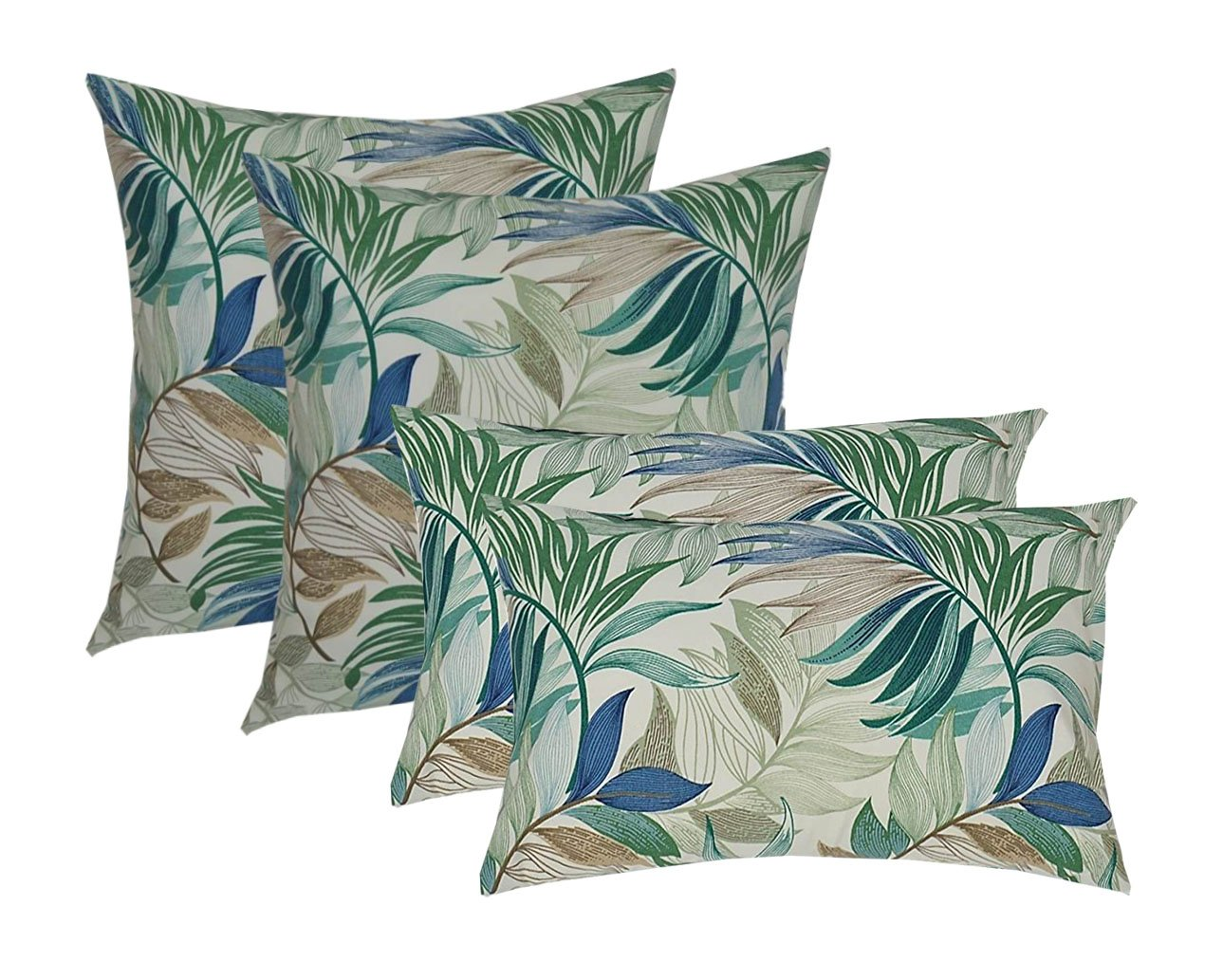 Set of 4 Indoor Outdoor Pillows 2 Square Pillows & 2 Rectangle Lumbar Decorative Throw Pillows - White, Blue, Teal, Green, Tan Tropical Palm Leaf - Choose Size (17''X17'' Square & 12''X20'' Lumbar) by Resort Spa Home Decor