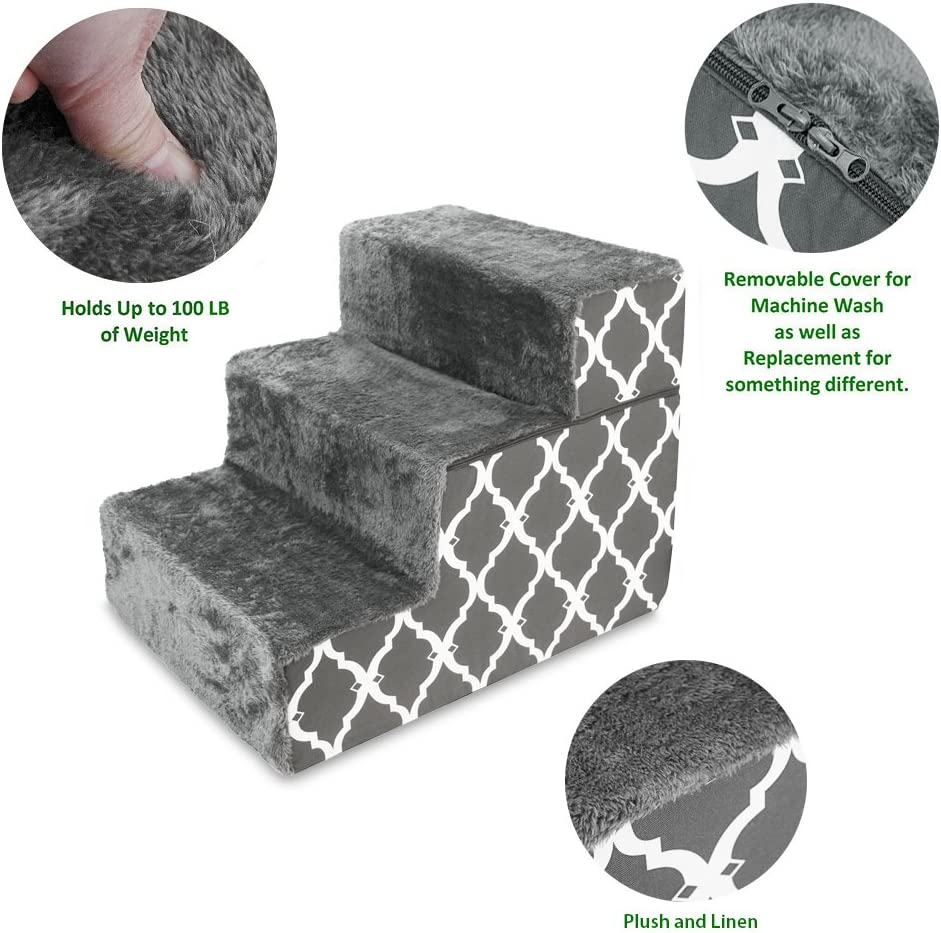 """Made in USA Foldable Pet Steps/Stairs with CertiPUR-US Certified Foam by Best Pet Supplies - Gray Lattice, 3-Steps (H: 16.5"""") : Pet Supplies"""