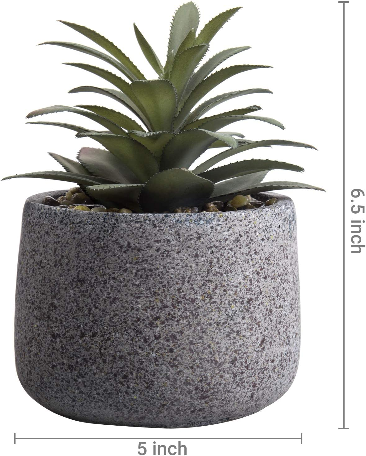 Mygift Decorative Artificial Agave Succulent Plant In Gray Speckled Cement Pot Home Kitchen