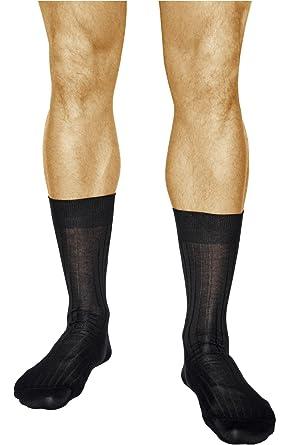 vitsocks Calcetines Ejecutivos Hombre (3 pares) 100% ALGODÓN MERCERIZADO Negros Finos Acanalados: Amazon.es: Ropa y accesorios