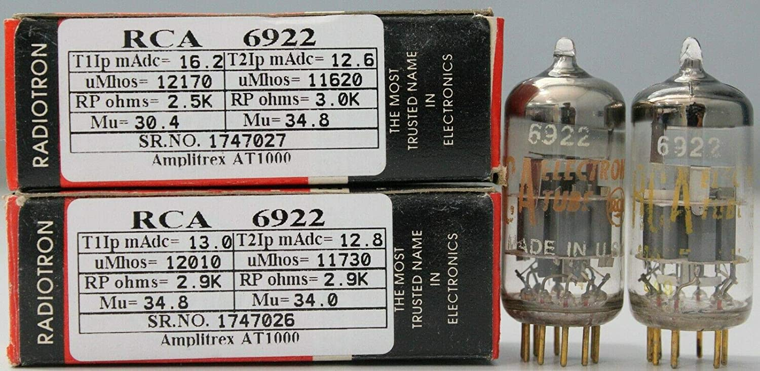 1MP 6922 E88CC RCA NOS Nib Gold pins Made in U.S.A Amplitrex Tested#1747027&26