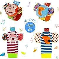 Sonajeros de Muñeca Bebe Sonajero de Pies y Manos Juguetes de Desarrollo Animal Lindo Calcetines Sonajero para 0-12…