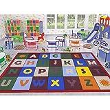 Ottomanson Jenny Collection Red Frame with Multi Colors Children's Educational Alphabet Design (Non-Slip) Kids Area Rug, 3'3 X 4'7, Multicolor