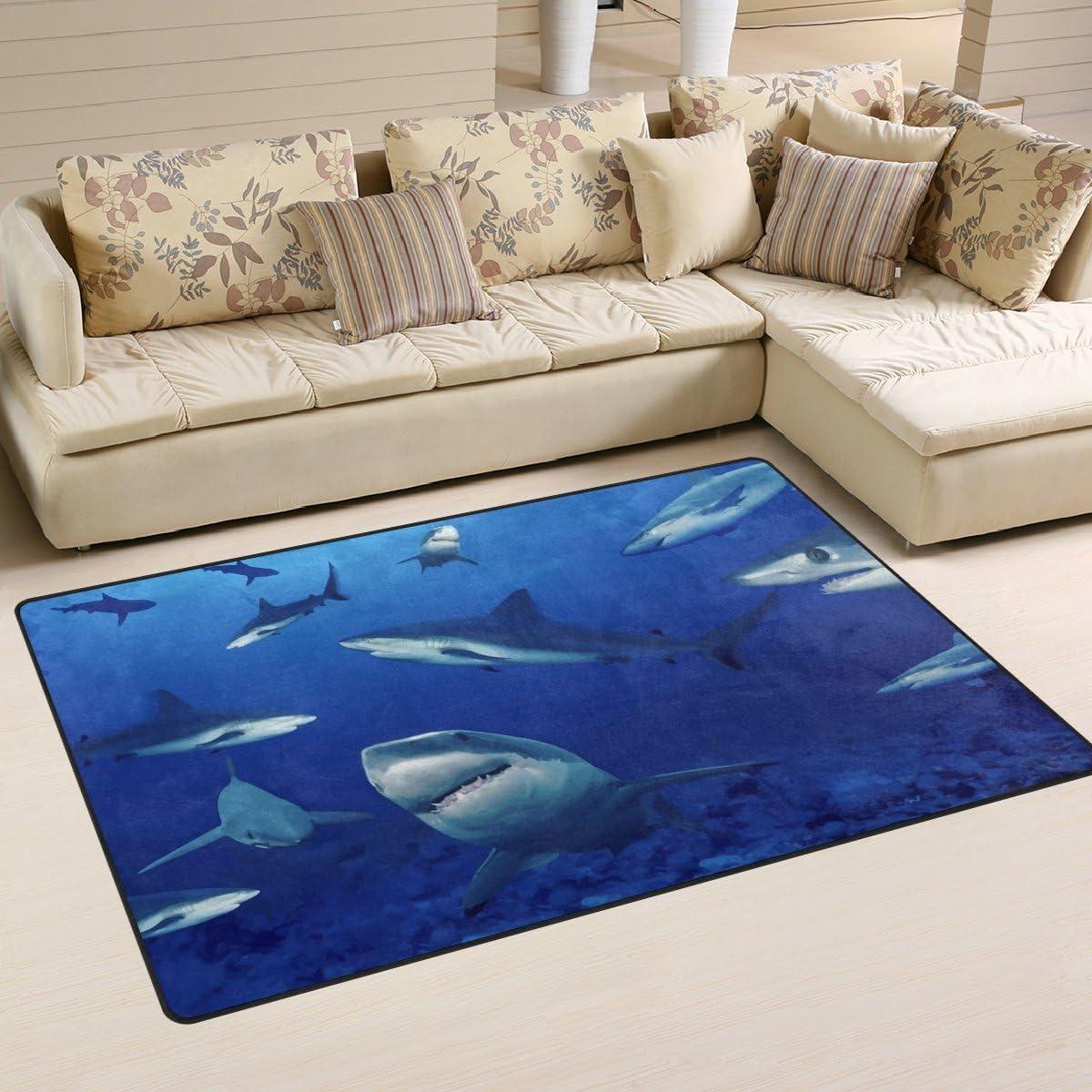 LORVIES Sharks Area Rug Carpet Non-Slip Floor Mat Doormats for Living Room Bedroom 60 x 39 inches