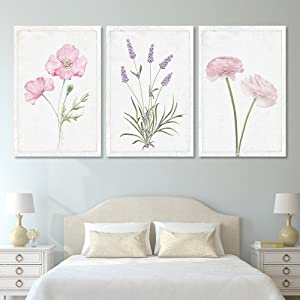 """wall26 - 3 Panel Canvas Wall Art - Hand Drawn Lavender Pink Flowers Artwork - Giclee Print Gallery Wrap Modern Home Decor Ready to Hang - 16""""x24"""" x 3 Panels"""