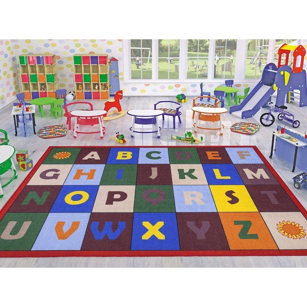"""Ottomanson Jenny Collection Red Frame with Multi Colors Childrens Educational Alphabet Design (Non-Slip) Kids Area Rug, 33"""" X 47"""", Multicolor"""