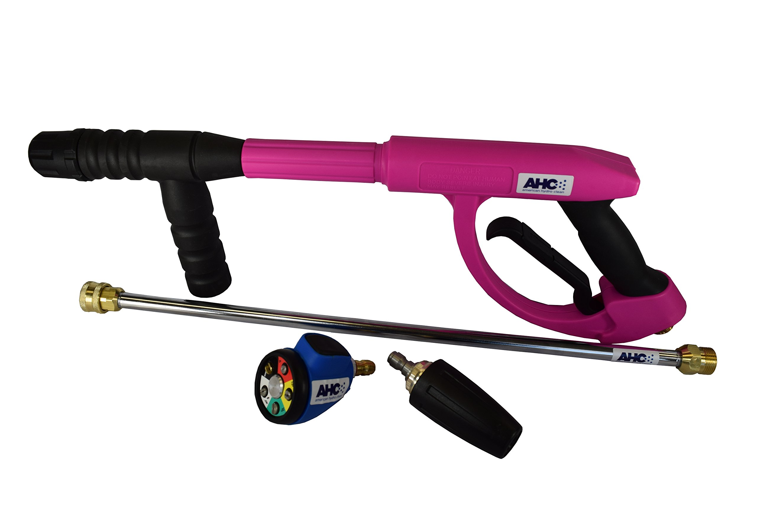 American Hydro Clean AHCGUNKIT8 M22 Ergo Pressure Washer Gun 3600PSI, 20'' Lance, Multi-tip and Turbo Nozzle, Pink (Pack of 4)