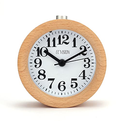 ECvision Wooden Round Silent Alarm Clock with Nightlight Snooze Classic Table Beech Wood Mute Clock, Light Wooden Design