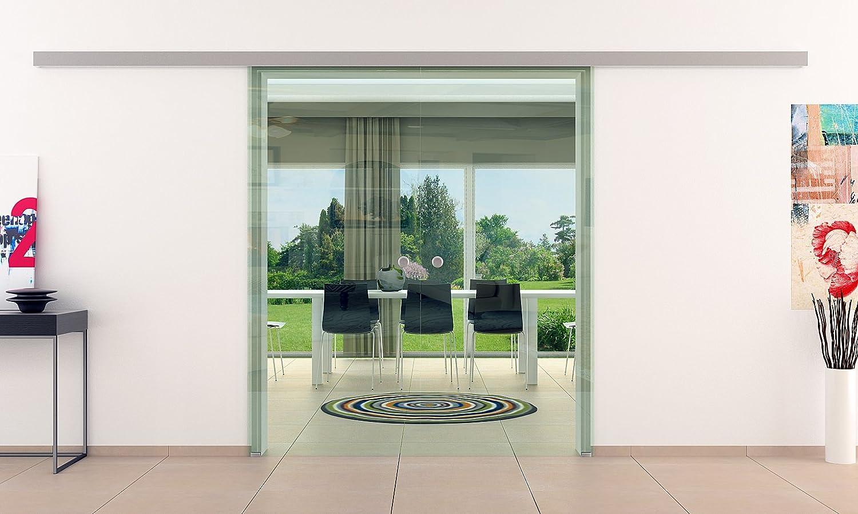 Correderas de cristal de la puerta sistema de mí 2 alas | Dorma ágil 50 curso del carril | Vidrio transparente | Tiradores | 2 piezas 900 x 2050 mm de muy
