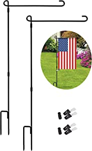 LAVIEVERT Garden Flag Stand Banner Flagpole Black Wrought Iron Yard Flag Pole with 4 Anti-Wind Clips and 2 Spring Stopper Without Flag - 2 Pack
