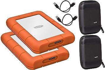 LaCie 2パック 1TB Rugged Mini USB 3.0 (USB 2.0互換) 外付けハードドライブ MacとPCに対応 - コンパクトなポケットケース付き