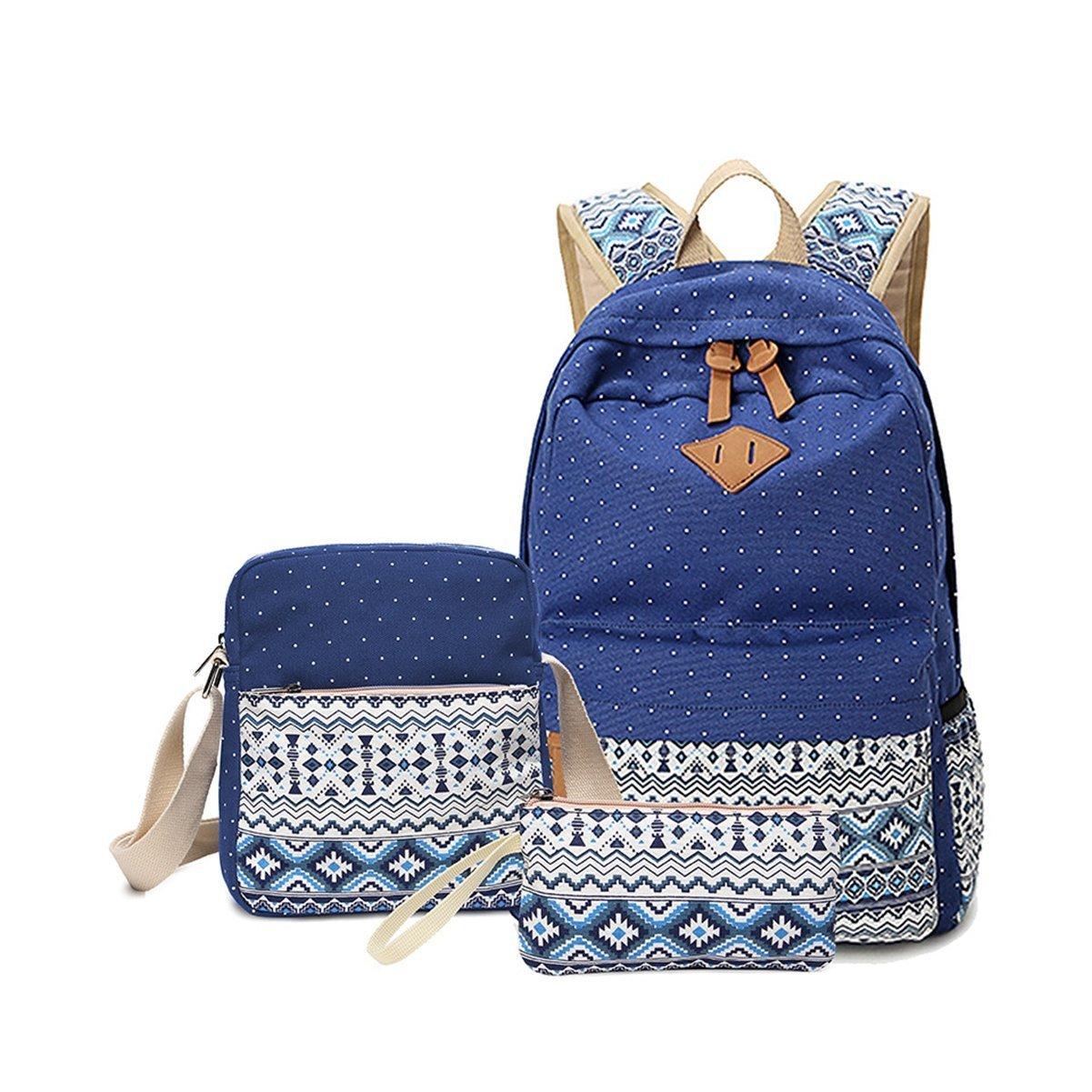 b4db34b88a Amazon.com  Cheneypao Canvas Bookbag Casual School Backpack Cute Schoolbag  Laptop Book Bag Set 3 Pieces for Teen Girls Boys (Blue)  Clothing