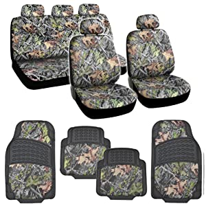 Hunting Camo Gray Forest Seat Cover & Camouflage 4 Piece All Weather Waterproof Rubber Car Floor Mats