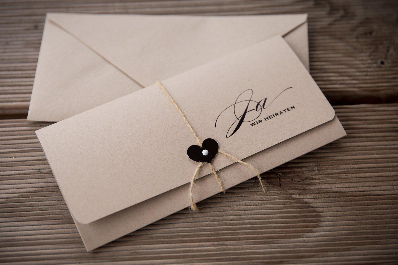 10 X Einladungskarten Hochzeit Vintage Braunes Kraftpapier Mit