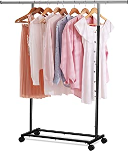Utopia Home Hanging Garment Rack - Rolling Clothes Organizer with Wheels for Handy Storage and Organization of Wardrobe
