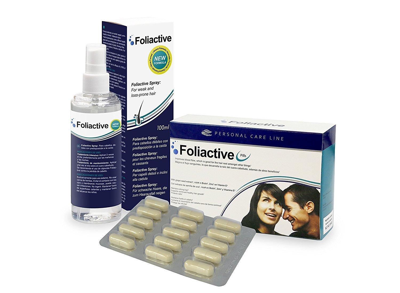 Caída del cabello - 3 Foliactive Pills + 3 Foliactive Spray: Pastillas y Spray para detener la caída del cabello: Amazon.es: Belleza