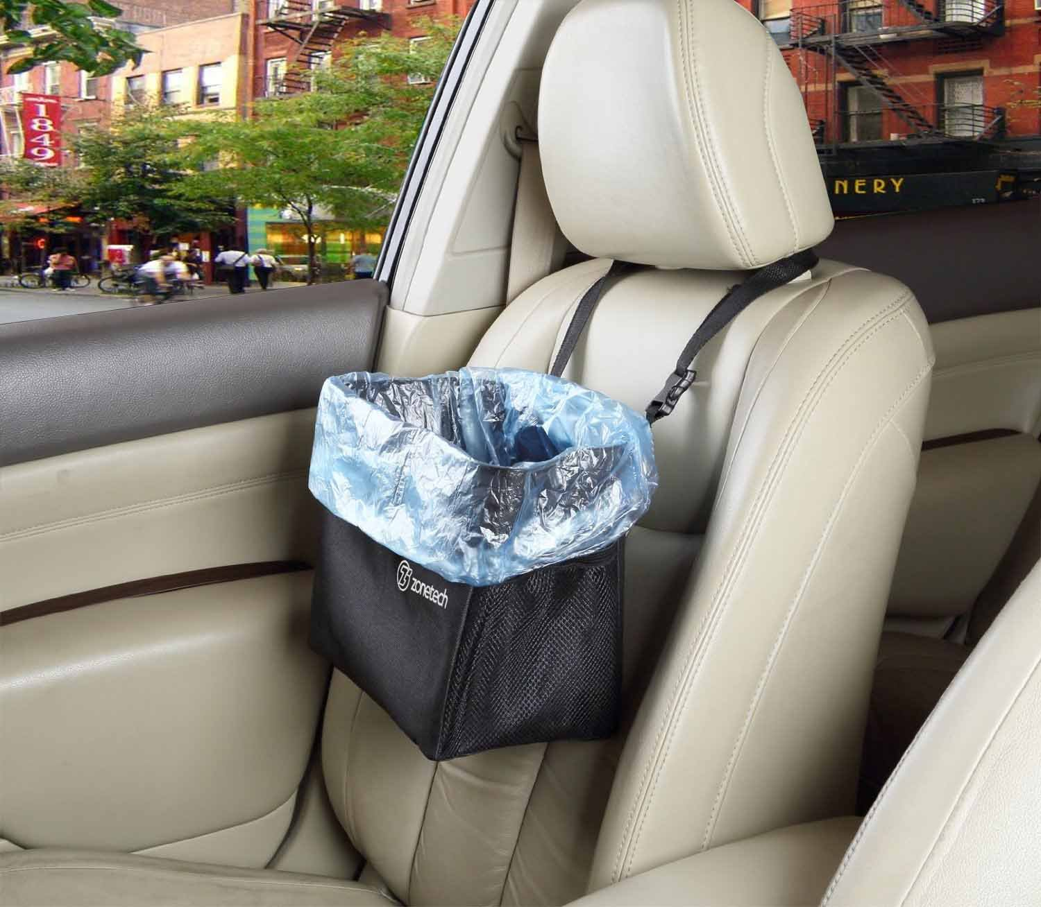 Litter Can Lining Removable Storage Kids Toys! Trash Bag Traveling Seatback Adjustable Zone Tech Waterproof Interior Headrest Car Garbage Can Litter Bag