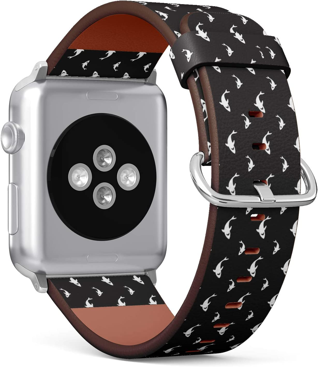 Compatible with Big Apple Watch 42mm & 44mm (Series 5, 4, 3, 2, 1) Leather Watch Wrist Band Strap Bracelet with Stainless Steel Clasp and Adapters (Shark Fin Dolphin)