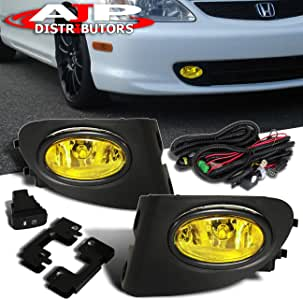 AJP Distributors For 2002 2003 2004 2005 02 03 04 05 Honda Civic Si Hatchback EP3 Fog Lights Lamps Assembly Front Driving Bumper Replacement Upgrade Set (Yellow)