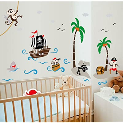 ufengke Cartoon Pirate Ship Monkey Pirate Coconut Island Wall Decals, Children's Room Nursery Removable Wall Stickers Murals: Home & Kitchen