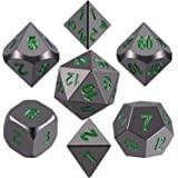 SIQUK Metal Polyhedral Dice Shiny Black Body and Dark Green Numbers Zinc Alloy Dice with Metal Case, 7-Die Dice Role Playing Game Dice for Dungeons and Dragons RPG Dice Gaming D&D and Math Teaching