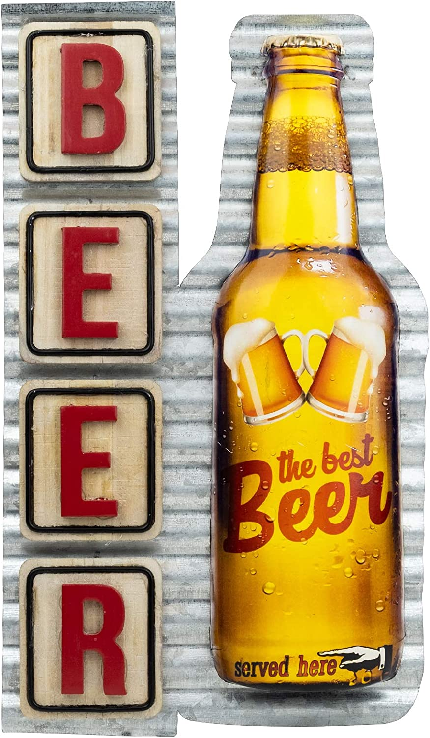 "Excello Global Products Vintage Metal Beer Signs Tin Retro Wall Wood Iron Plaque for Cafe Club Art Signs Poster Home Man Cave Decor Vintage Bar Decoration 8""x13.5"" Inches"