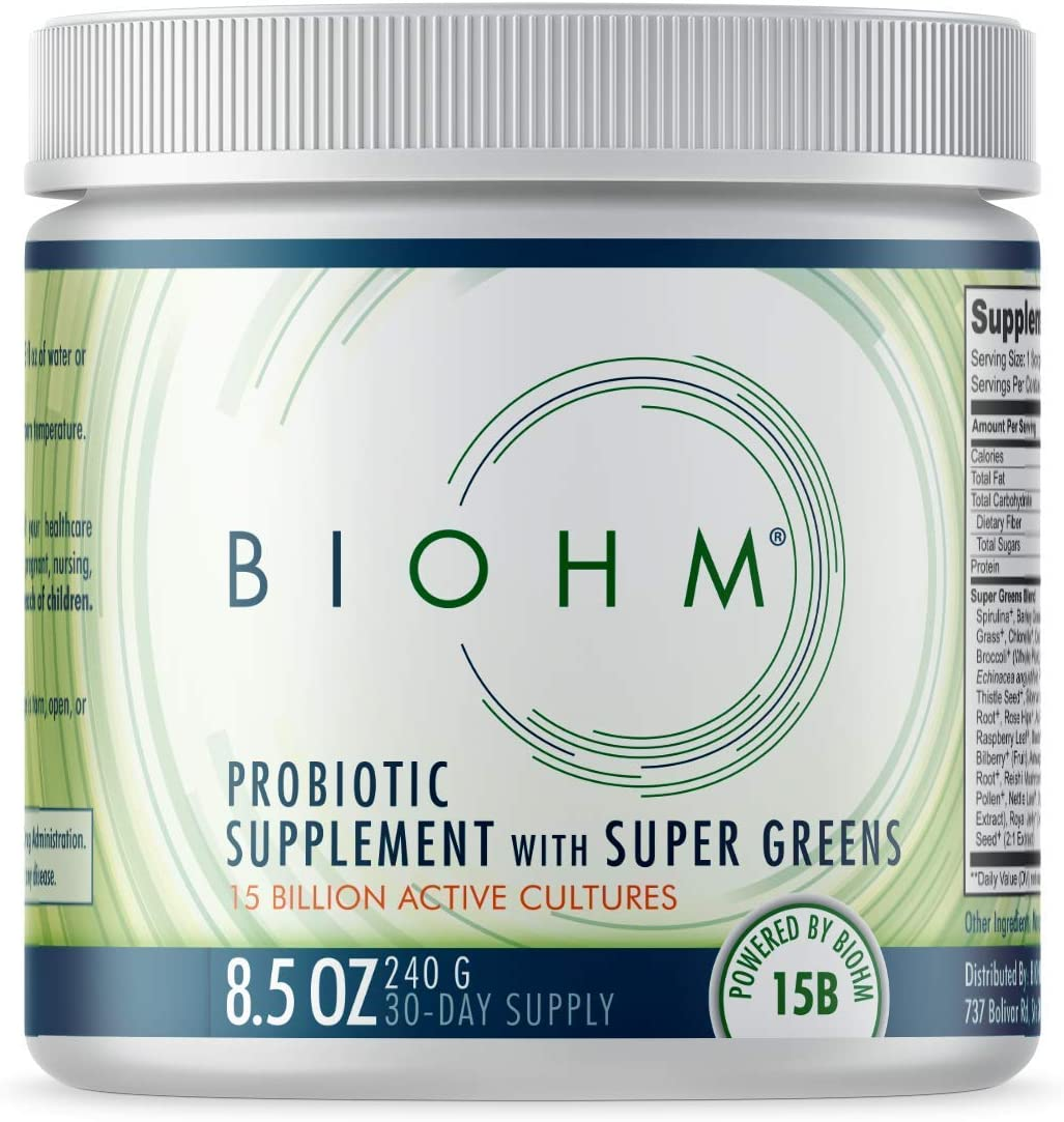 BIOHM Super Greens Powder for Super Green Juice or Smoothie Drink, Probiotic Supplement Blend with 20+ Organic Green Whole Foods; Non-GMO for Digestive and Immune Health; 30 Servings