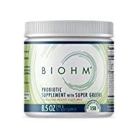 BIOHM Dr. Formulated Super Greens Superfood Powder with Probiotics, and Digestive Enzymes, 20+ Organic Green Whole Foods (with Wheatgrass), Allergen Free, Non-GMO, 30 Servings