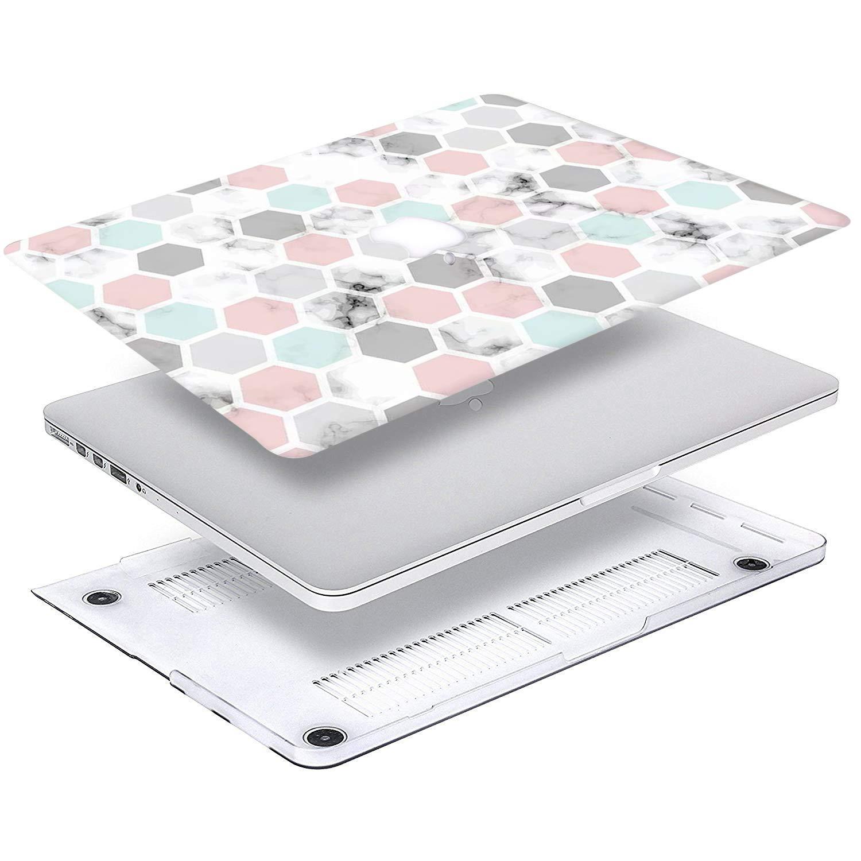AQYLQ Funda Dura para 2018//2017// 2016 MacBook Pro 13 Pulgadas con//sin Touch Bar A1706// A1708// A1989 DL-60 M/ármol Hexagonal Ultra Delgado Carcasa R/ígida Protector de Pl/ástico Cubierta
