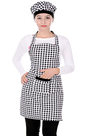 Switchon Branded Cotton Kitchen Apron With Cap In Black And White Checks