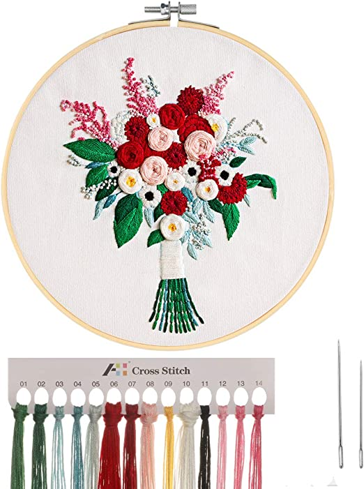 MWOOT 3D Kreuzstich-Set Embroidery Starter Kit mit Blumenstrau/ßmuster,DIY Handarbeit Stickerei Starter Kit Cross Stitch Craft f/ür Erwachsene Anf/änger Sticken,Wei/ß
