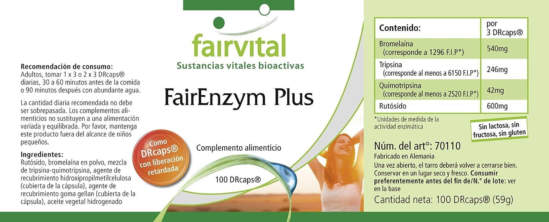 enzima justo Plus - A GRANEL durante 3 meses - ALTA DOSIS - 100 DRCaps® - complejo enzimático: Amazon.es: Salud y cuidado personal