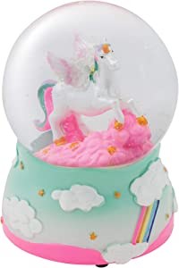 Elanze Designs Unicorn Rainbows on Teal Musical Figurine 100MM Water Globe Plays Tune The Unicorn