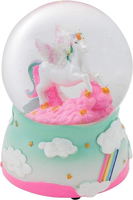 Flying Unicorn 100MM Musical Water Globe Plays Tune The Unicorn