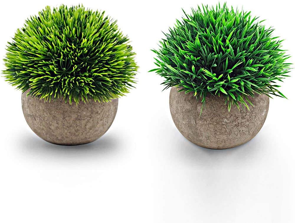 WOODMUSIC Artificial Plants,Mini Potted Fake Plants 2 Packs Green Grass Faux Greenery Topiary Shrubs for Office, Home, Indoor Room Decorations